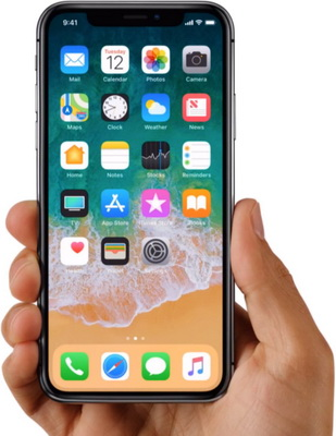 iPhone X в руке PNG